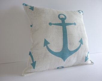 Coastal Blue Anchor Pillow, Nautical pillow in blue