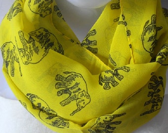 Elephant PrintScarf, Yellow scarf, Chiffon Scarf, Bright color, Light weight Scarf, Rich Look, Scarves, Gift for her, Womens accessories.