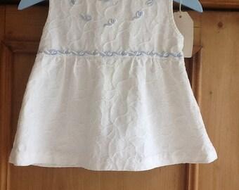 Vintage French cotton dress with blue trim newborn