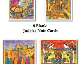 "Jewish Theme Note Cards, Box of 8 Blank Cards, 4.25"" x 5.5,"" and Envelopes"