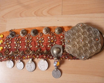 Orange tribal bellydance belt