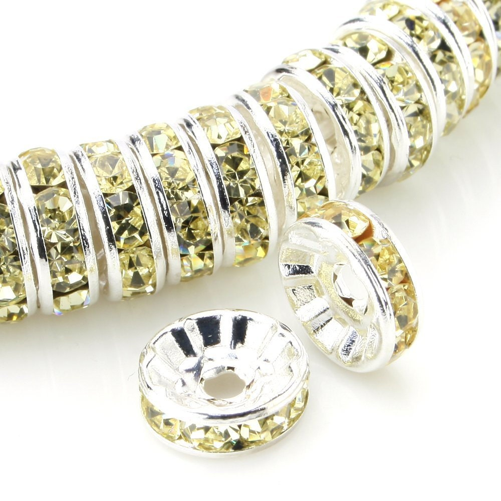 100 pcs silver plated crystal rondelle spacer beads 8mm style jonquil from. Black Bedroom Furniture Sets. Home Design Ideas