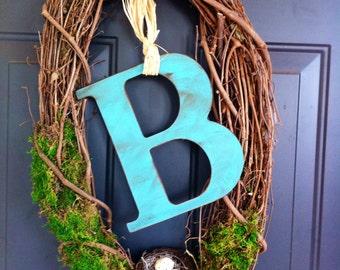 Bird's nest monogram door wreath