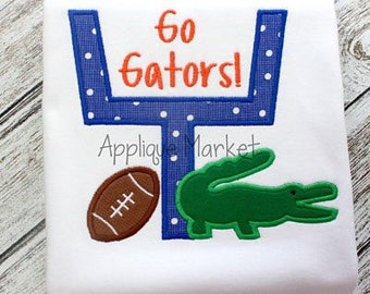 SAMPLE SALE: Appliqued Goalposts with Appliqued Alligator and Football on Tshirt or Bodysuit, Free Shipping