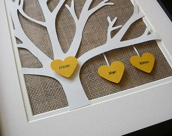 Burlap Family Tree, Paper Anniversary Gift, Bridal Shower. Customized Wedding Gifts, 11X14 Unframed 3D Paper Tree Wedding Gift, Anniversary