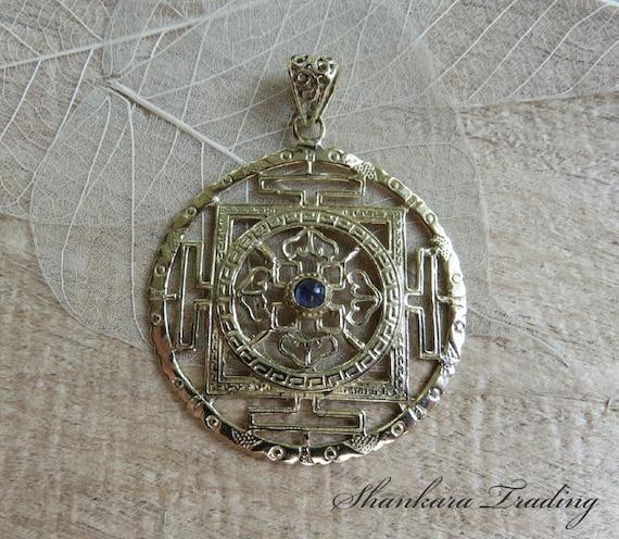 sri yantra mandala pendant with amethyst by