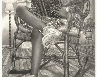Knowledge is Key, Graphite Drawing by Omoro Rahim