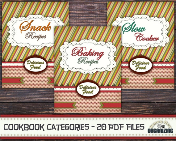 Cookbook Cover Page Ideas : Recipe book binder categories kit printable cookbook