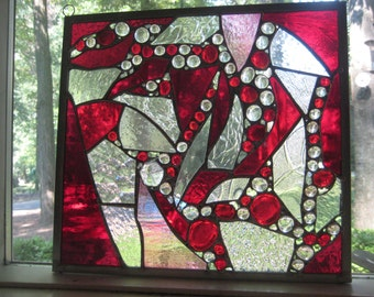 RANDOMLY RED stained glass panel window suncatcher  OOAK.