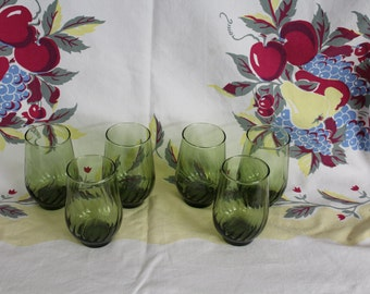 Set of 6 - Medium Size,  Vintage Avocado Swirl Glasses, Barware, Old Fashion Drink size, Green Glass (B003)