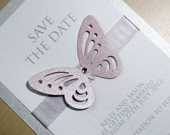 Butterflies Save the Date Pink and Silver - Any colour