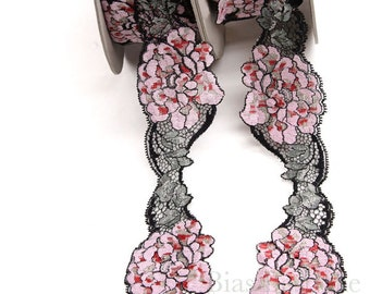 """3"""" Wide Pink Roses Stretch Leavers Lace, Made in France, Sold by the Yard"""
