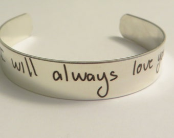 """Handwritten Stainless Steel Bracelet .5"""" x 6"""" Your Handwriting Personalized Custom Unique Christmas Gift Great"""