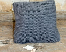 Chunky Pewter Grey Hand knitted cushion