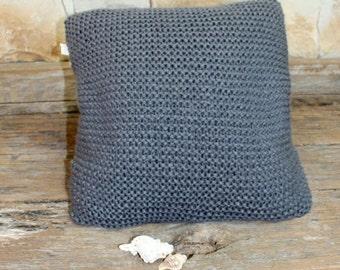 Pewter Grey Chunky Throw Pillow. Knit Pewter Grey Cushion Cover. Soft Cushion Cover. Hygge Cushion Cover. Pewter Grey Knit.