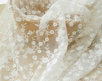 White Floral Lace Fabric Cotton Embroidered Organza Fabric Wedding Dress Bridal Fabric Veil Curtain Fabric 51'' Wide 1 Yard X082