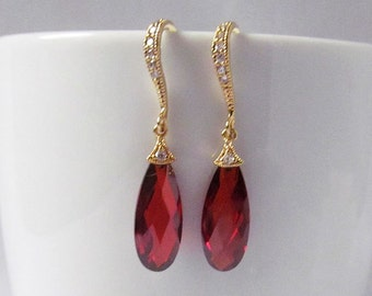ruby red earrings gold and red earrings red prom earrings red wedding earrings formal earrings