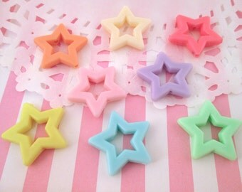 Pastel Fairy Kei Pastel Star Beads, Cute Multicolor Kawaii Embelishments, #734