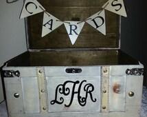 Vintage Wedding Card Box, Rustic Wedding Card Box, Large Vintage Trunk, Wedding Box, Custom Card Box, Ivory Card Box