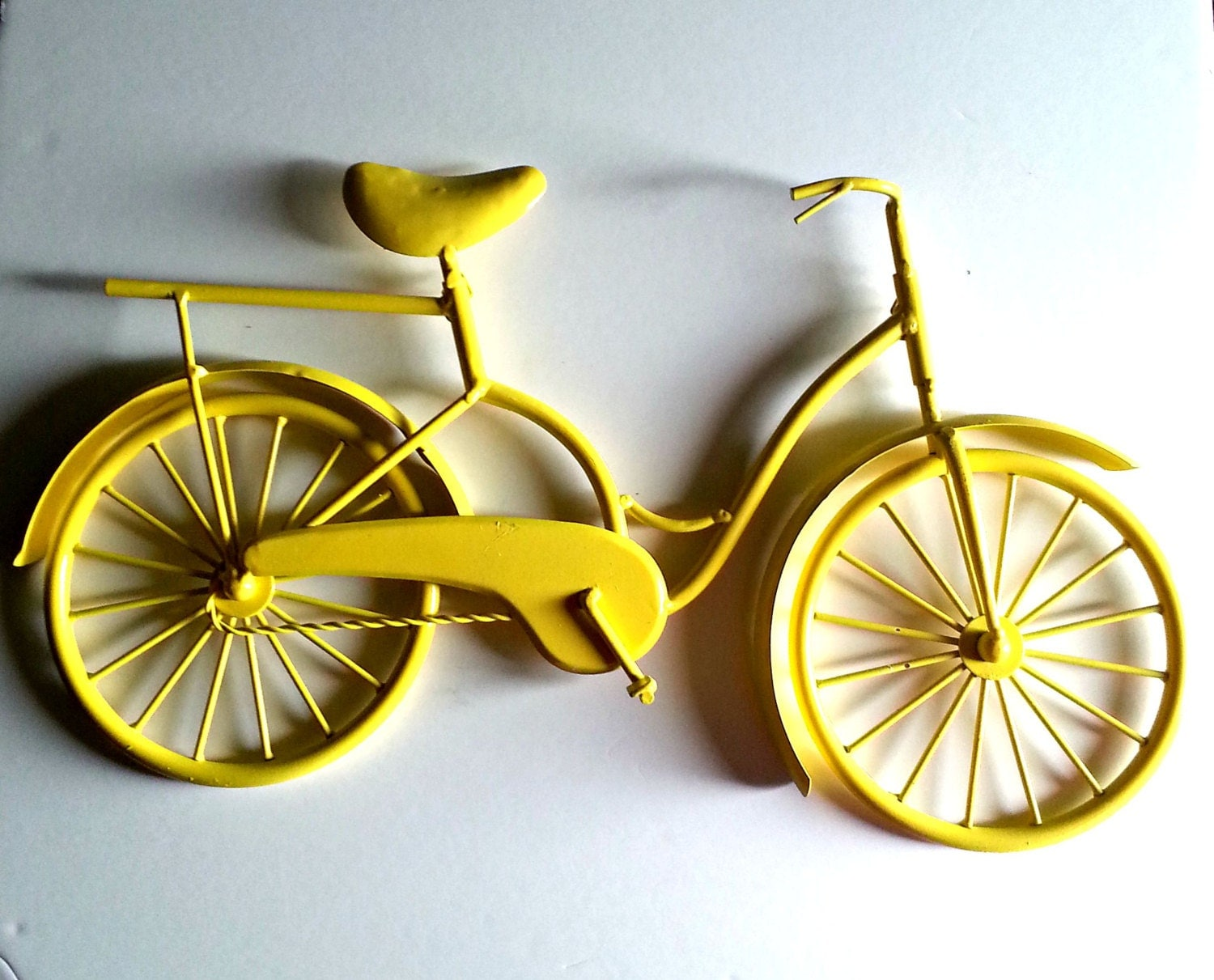 Metal Wall Decor Bicycle : Bicycle wall art yellow decor metal by