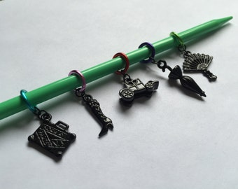 Victorian-Themed Stitch Markers (Set of 5)