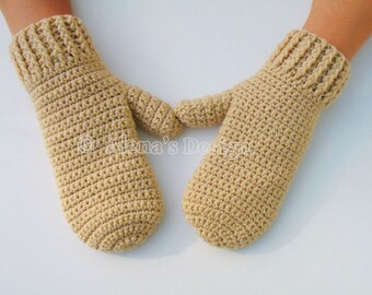 Crochet Mitten Pattern - Crochet Pattern 105 for Adult Mittens in three sizes Crochet Glove Pattern Mittens Patterns Adult Teen Men Women