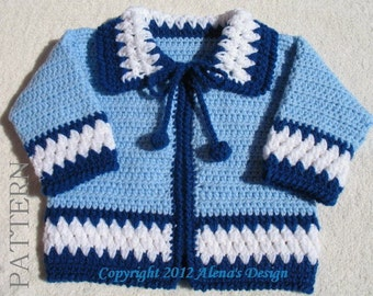 Crochet Pattern 046 , Blue Baby Jacket Baby Boys Toddler Sweater Baby Boy  Cardigan Newborn Coat Winter Sweater Baby Shower Christmas Gift