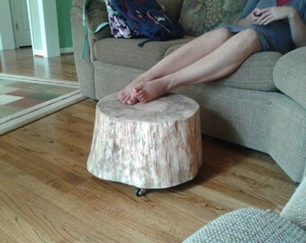 Live Edge Rolling Footstool Plant stand Thick Rustic Pine