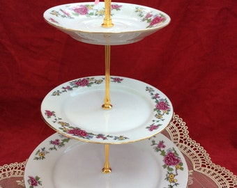 3 Tier Peony China Cake Stand, 3 Tier Pink and Gold Cupcake Stand, 3 Tier Pastry Stand, 3 Tier Dessert Stand, 3 Tier Snack Stand