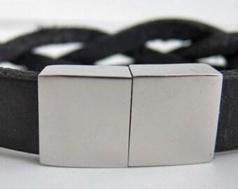15 mm Braided Black Leather Bracelet