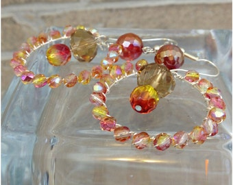 Yellow and orange wire wrapped hoop earrings