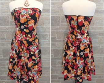Multicolor floral strapless dress - oranges, blue, white green peach - medium