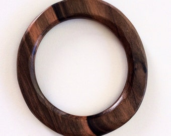 Natural wood bangle bracelet dark brown