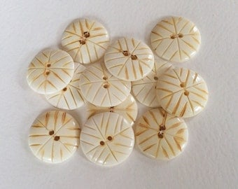 """12 round carved bone buttons 1 1/4"""" for crafts and accessories"""