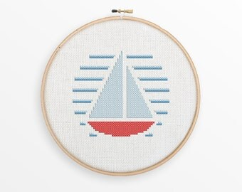 Sailboat Cross Stitch Pattern - Modern Nautical Counted Cross Stitch, Nursery Decor - INSTANT DOWNLOAD