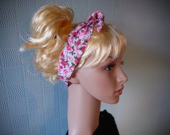 Vintage inspired rockabilly hair scarf, dolly bow, hairband, hair wrap in pink and white cotton with ditsy flowers