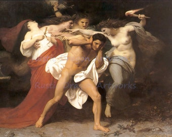 "William Bouquereau ""Orestes Pursued by the Furries"" 1862 Reproduction Digital Print Greek Mythology Greek Hero Madness Purification"