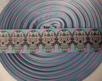 "3 YARDS-9 FEET-1"" Grossgrain Sugar Skull Ribbon-Halloween Ribbon"
