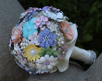 Brooch Bouquet/Full Price Bouquet/Bridal Brooch Bouquet/Pastel Wedding Bouquet/Handmade Bouquet/Purple Bridal Bouquet/Pastel Bridal Bouquet