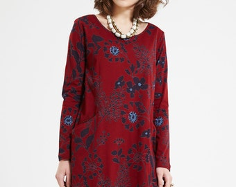 Fair Trade Organic Cotton Long Sleeve Dress - Red Floral Modern Loose Cut With Pockets Straight Christmas Party