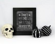 Halloween printable, flying monkeys, illustration, printable, halloween printable art,  holidays, illustrated art, modern wall art
