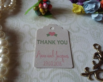 shimmer pearl  tag Thank You Tags, Custom Wedding Tags, Custom Thank You Wedding Tags - Set of 25 to 300 pieces Mini tag