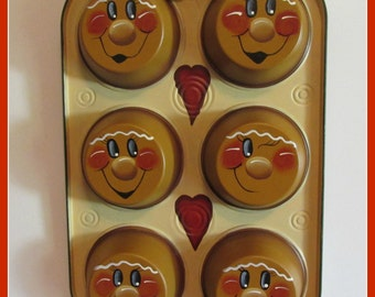 Hand painted Gingerbread Muffin Tin