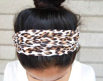 Cheetah SCRUNCH-BACK Headband // Cheetah Headband, Scrunch Headband, Adult Headband, Wide Headband, Stretchy Headband
