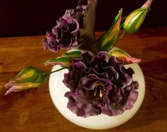 Sugar flowers - gumpaste lisianthus - purple wedding cake topper