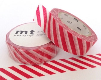 MT Tape Red Vermillion Candy Stripe Washi Tape