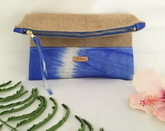 Handmade Fold Over Clutch/Leather Clutch/Burlap Clutch/Fabric Clutch/Zippered Clutch/Made To Order