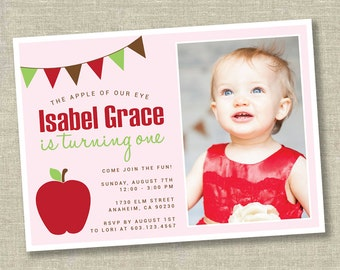 apple picking invitation, apple of our eye, apple birthday invitation, apple birthday party, apple orchard invitation, apple picking party