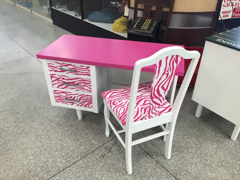 On sale custom desks for order zebra desk hot pink zebra for Unique desks for sale