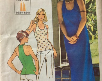 CLEARANCE!!  Simplicity 6443 misses racer-back maxi dress or top size 12 bust 34 Jiffy vintage 1970's sewing pattern